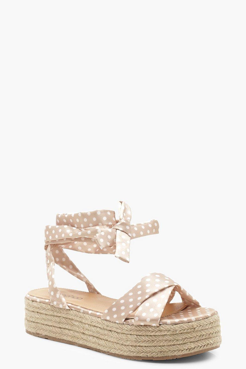 d6fab7b000 Polka Dot Wrap Strap Espadrille Flatform Sandals | Boohoo