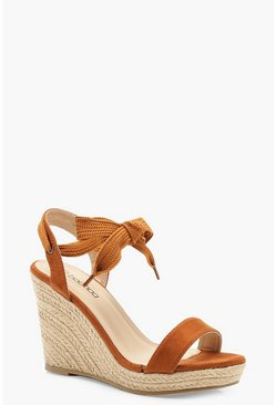 Womens Tan Peeptoe Wrap Espadrille Wedges