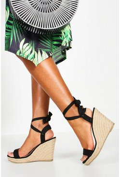 Womens Black Peeptoe Wrap Espadrille Wedges