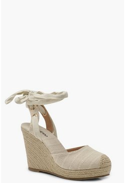 Womens Natural Round Toe Wrap Espadrille Wedges