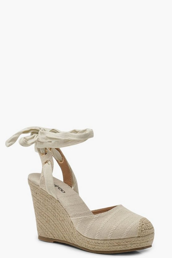 Round Toe Wrap Espadrille Wedges
