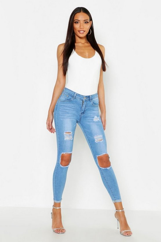 Womens Light blue High Waisted Distressed Skinny Jeans