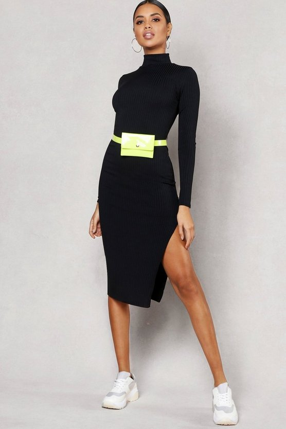 Womens Black Jumbo Rib High Neck Split Midi Dress