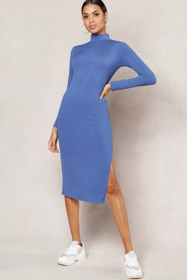Womens Denim-blue Jumbo Rib High Neck Split Midi Dress