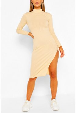 Womens Ecru Jumbo Rib High Neck Split Midi Dress