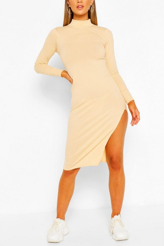 Jumbo Rib High Neck Split Midi Dress