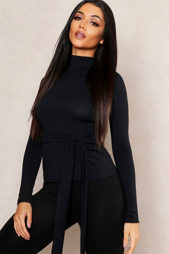 Black Jumbo Rib High Neck Self Belt Top