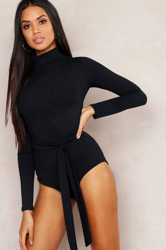 Womens Black Jumbo Rib High Neck Self Belt Bodysuit