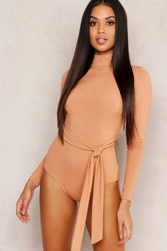 Womens Caramel Jumbo Rib High Neck Self Belt Bodysuit