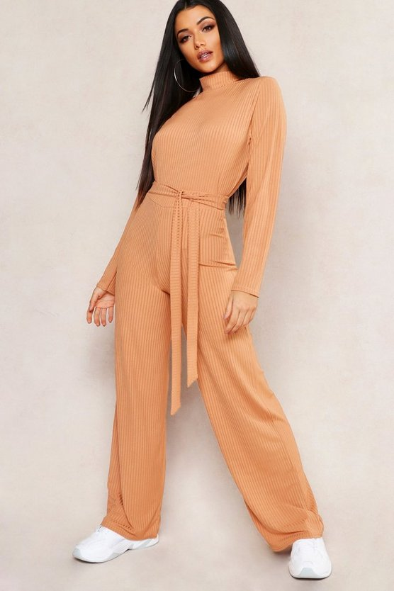 Womens Caramel Jumbo Rib Self Belt Wide Leg Trouser