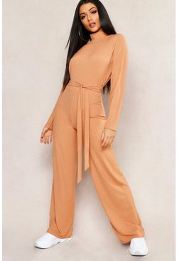 Womens Caramel Jumbo Rib Self Belt Wide Leg Pants