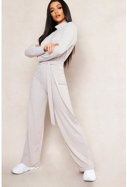 Womens Grey Jumbo Rib Self Belt Wide Leg Trouser