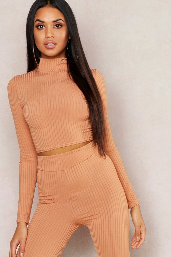 Caramel Jumbo Rib High Neck Long Sleeve Crop Top