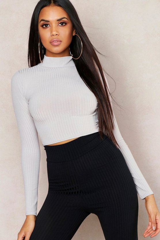 Womens Grey Jumbo Rib High Neck Long Sleeve Crop Top