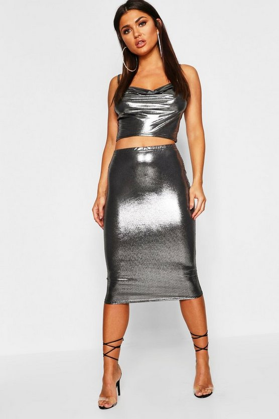 Womens Charcoal Metallic Cowl Neck Cami + Midi Skirt Co-Ord