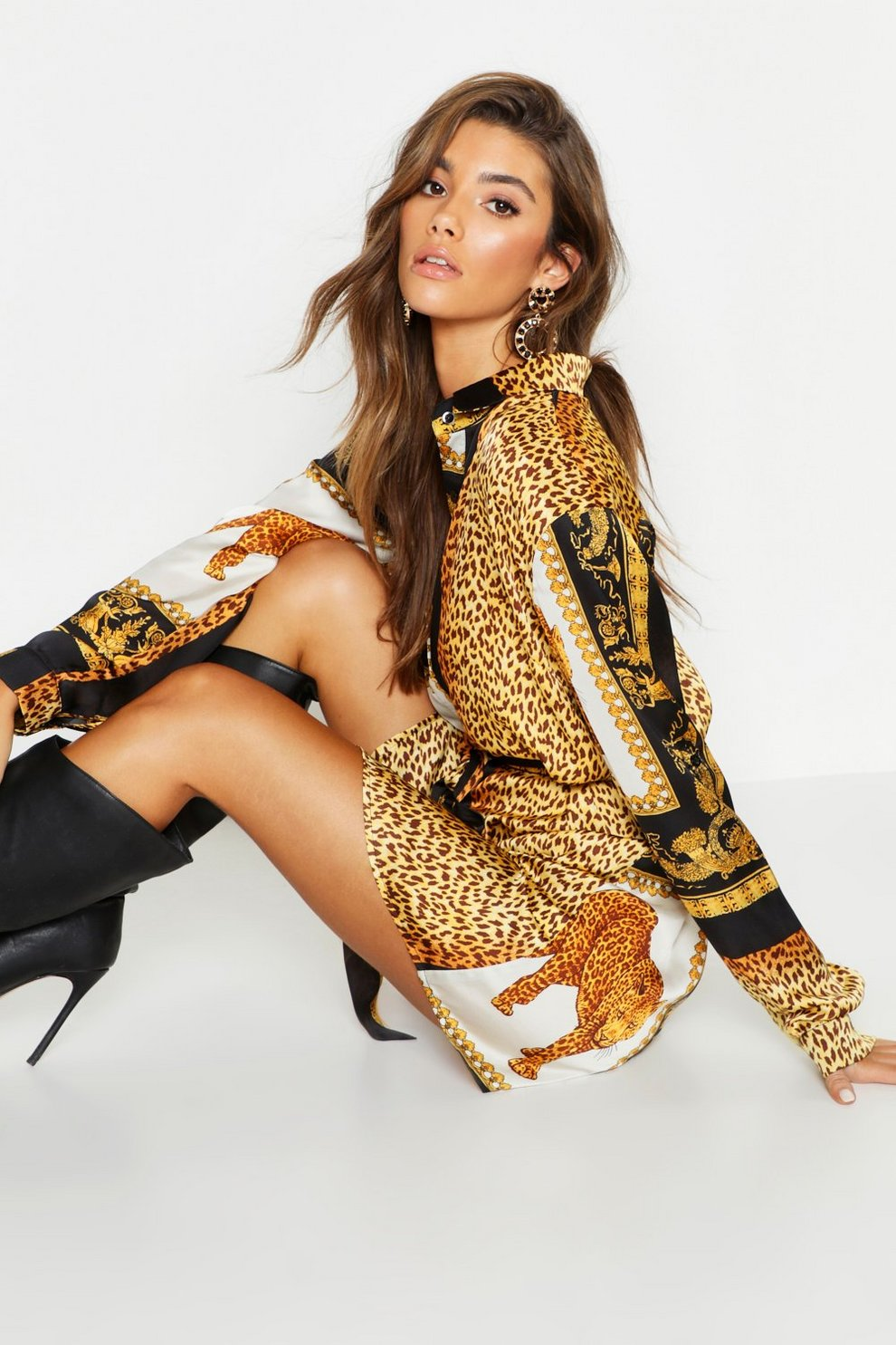 9ad428912c39 Leopard Scarf Print Shirt Dress | Boohoo