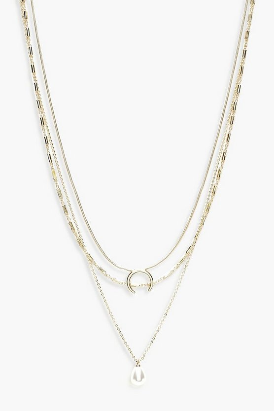 Womens Gold Pearl & Circle Layered Necklace