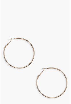 Womens Gold 6cm Hoop Earrings