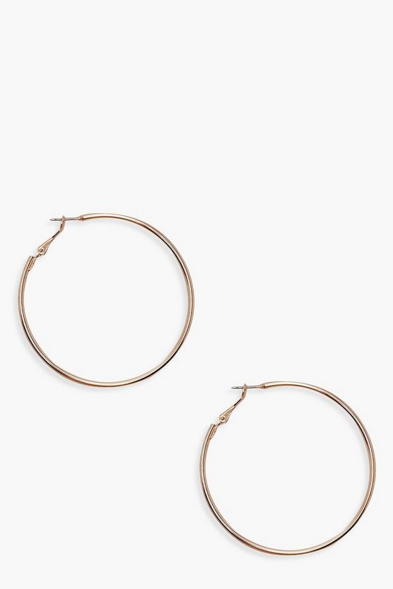 Womens Rose gold 6cm Hoop Earrings