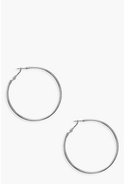 Womens Silver 6cm Hoop Earrings