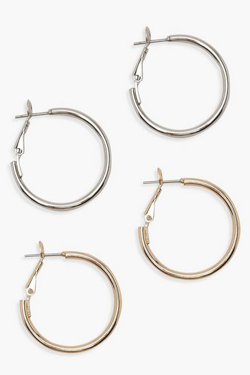 Womens Multi 25mm Hoop Earring 2 Pack