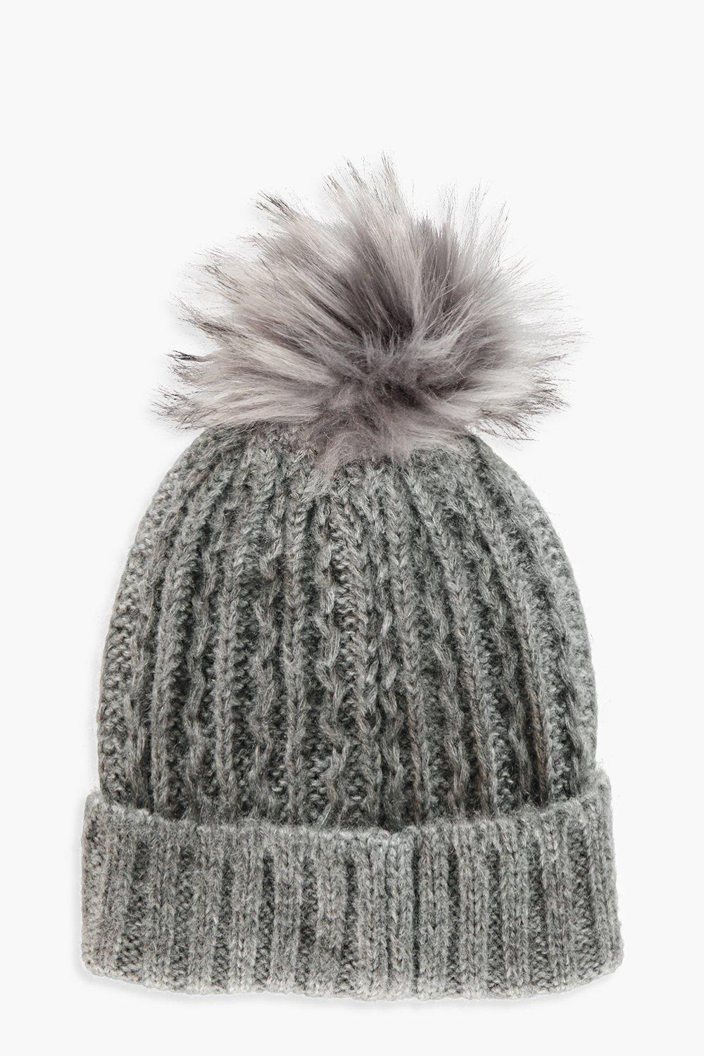 Faux Fur Pom Chunky Knit Beanie. Hover to zoom 18353bf5f61