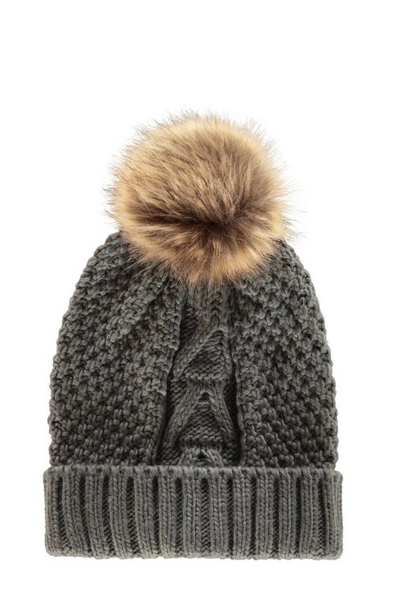 Womens Grey Cable Knit Faux Fur Pom Beanie