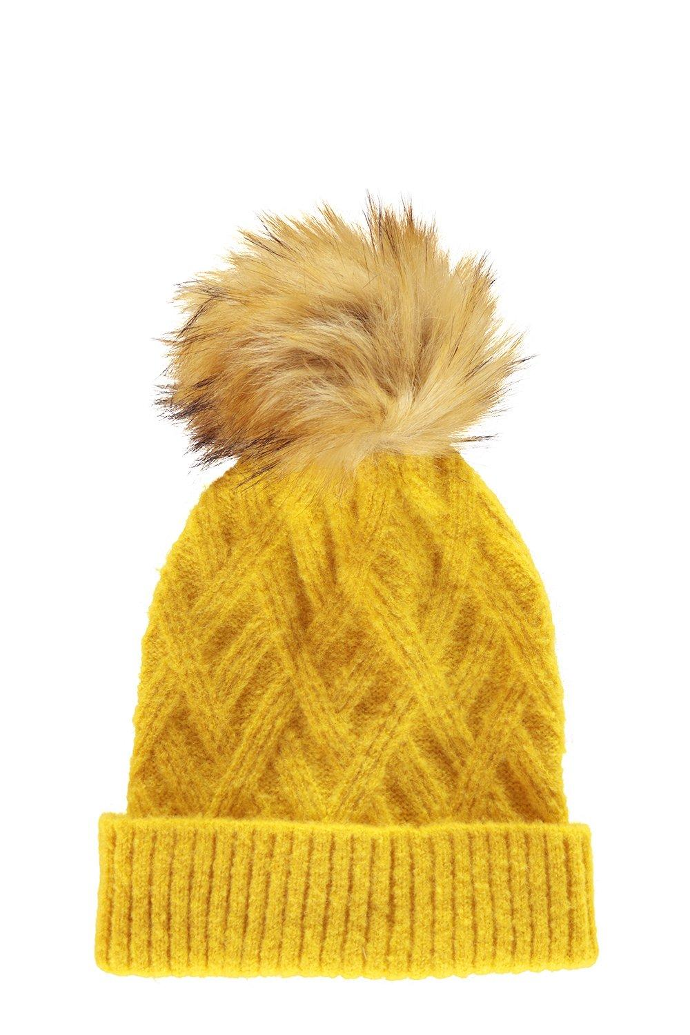 3ac241978f2 Large Faux Fur Pom Beanie. Hover to zoom