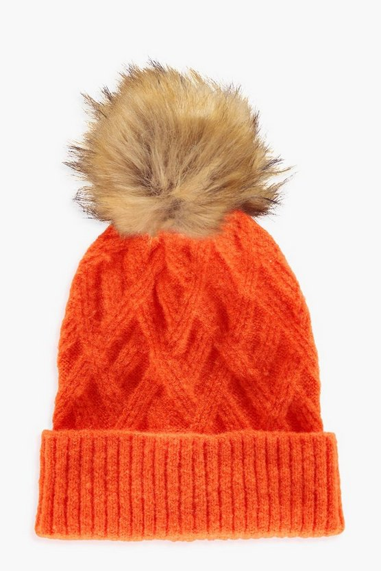 Bonnet large en fausse fourrure à pompon, Orange, Femme