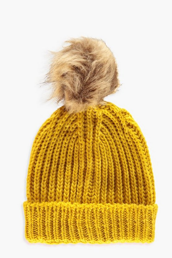 Womens Mustard Natural Faux Fur Pom Beanie