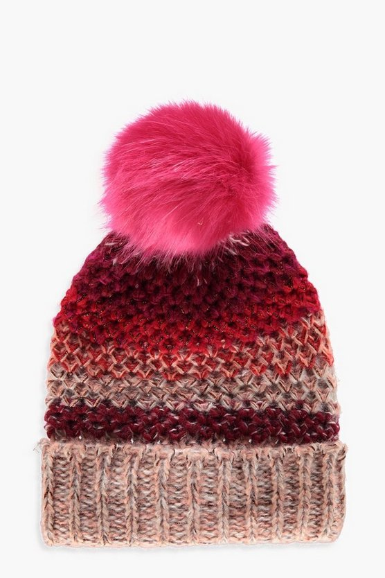 Womens Multi Multi-Coloured Faux Fur Beanie