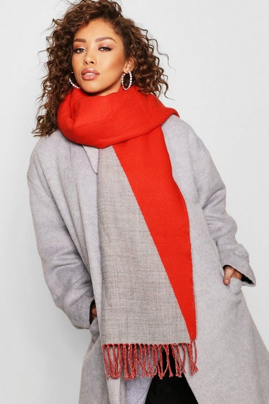 Womens Grey Colour Block Scarf