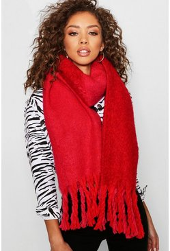 Womens Red Chunky Blanket Scarf