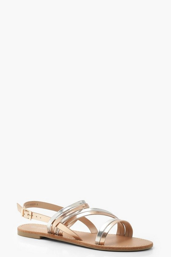 Womens Rose gold Metallic Multi Strap Sandals