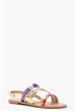 Womens Pink Rainbow Multi Strap Sandals