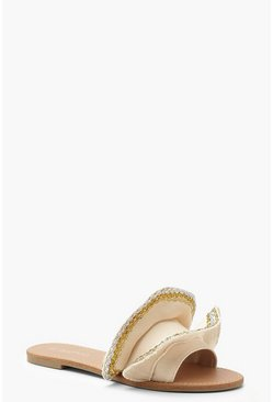 Beige Canvas Metallic Frill Sliders