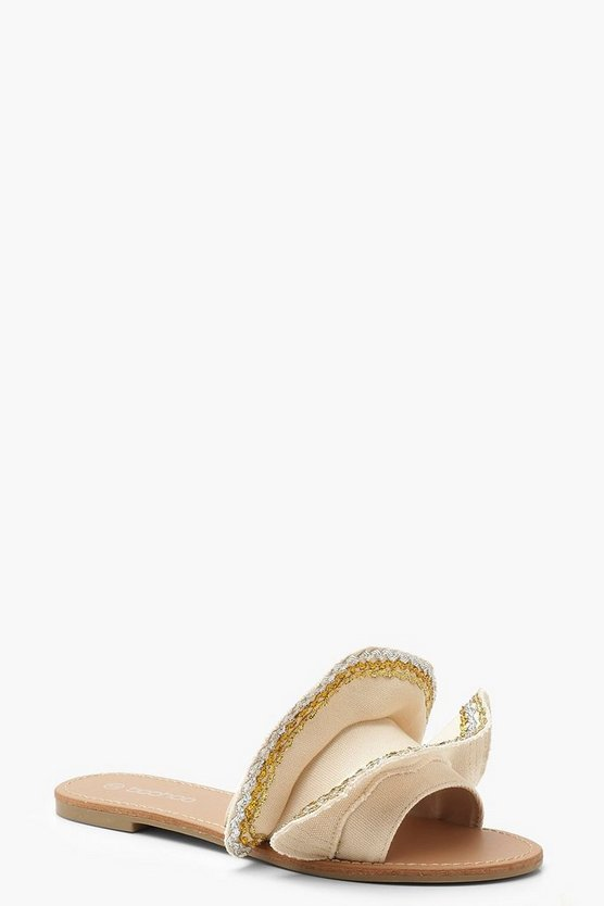Womens Beige Canvas Metallic Frill Sliders