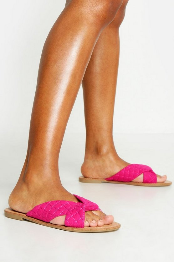 Womens Pink Quilted Cross Front Sliders
