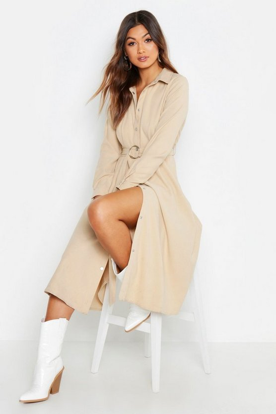 Womens Ecru Suedette Button Through Belted Midi Shirt Dress