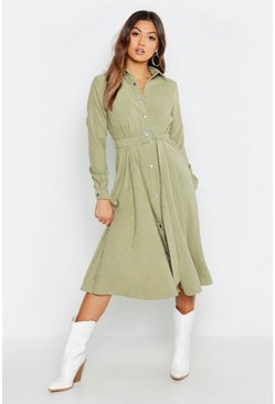 Womens Sage Suedette Button Through Belted Midi Shirt Dress
