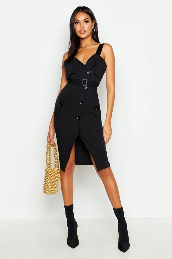 Womens Black Utility Button Belted Midi Dress