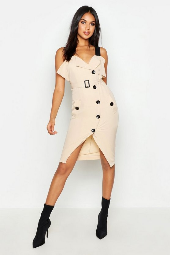 Utility Button Belted Midi Dress