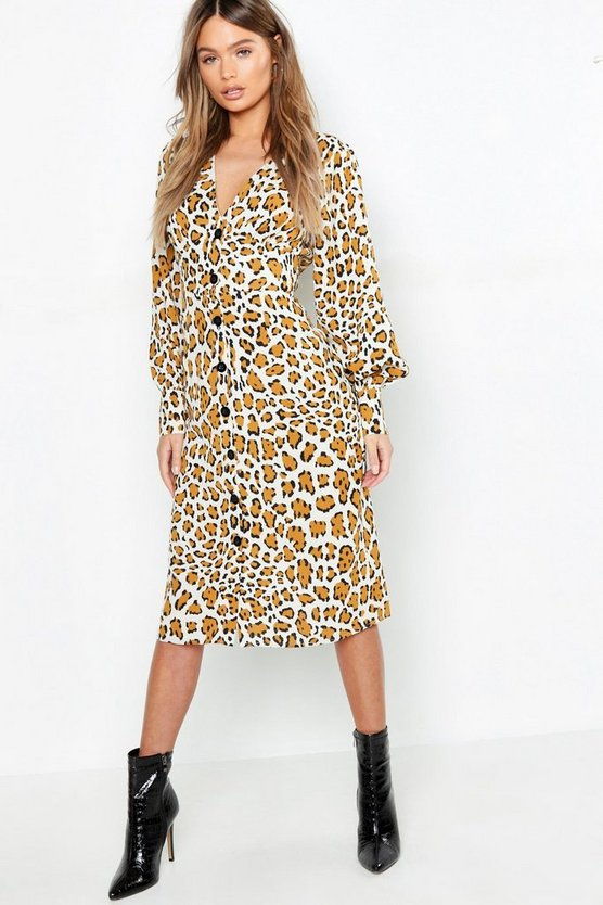 Woven Leopard Button Midi Dress
