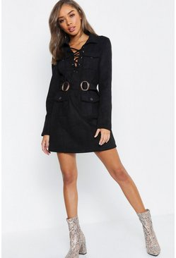 Womens Black Suedette Belted Blazer Dress