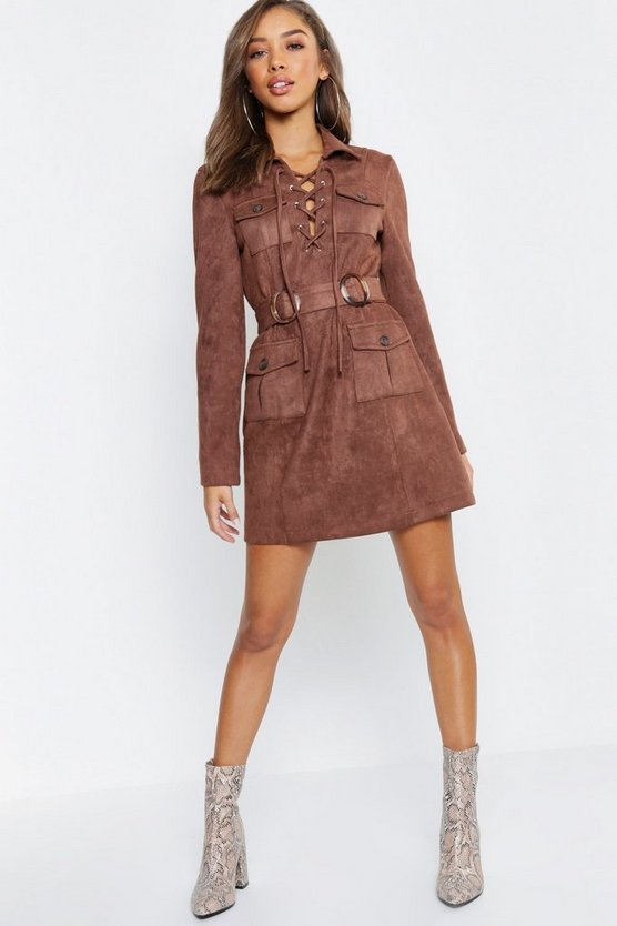 Suedette Belted Blazer Dress