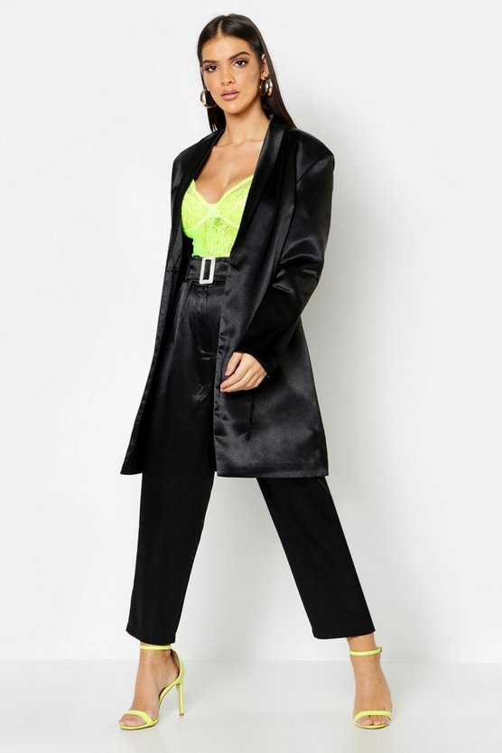 Satin Extreme Shoulder Pad Long Line Blazer