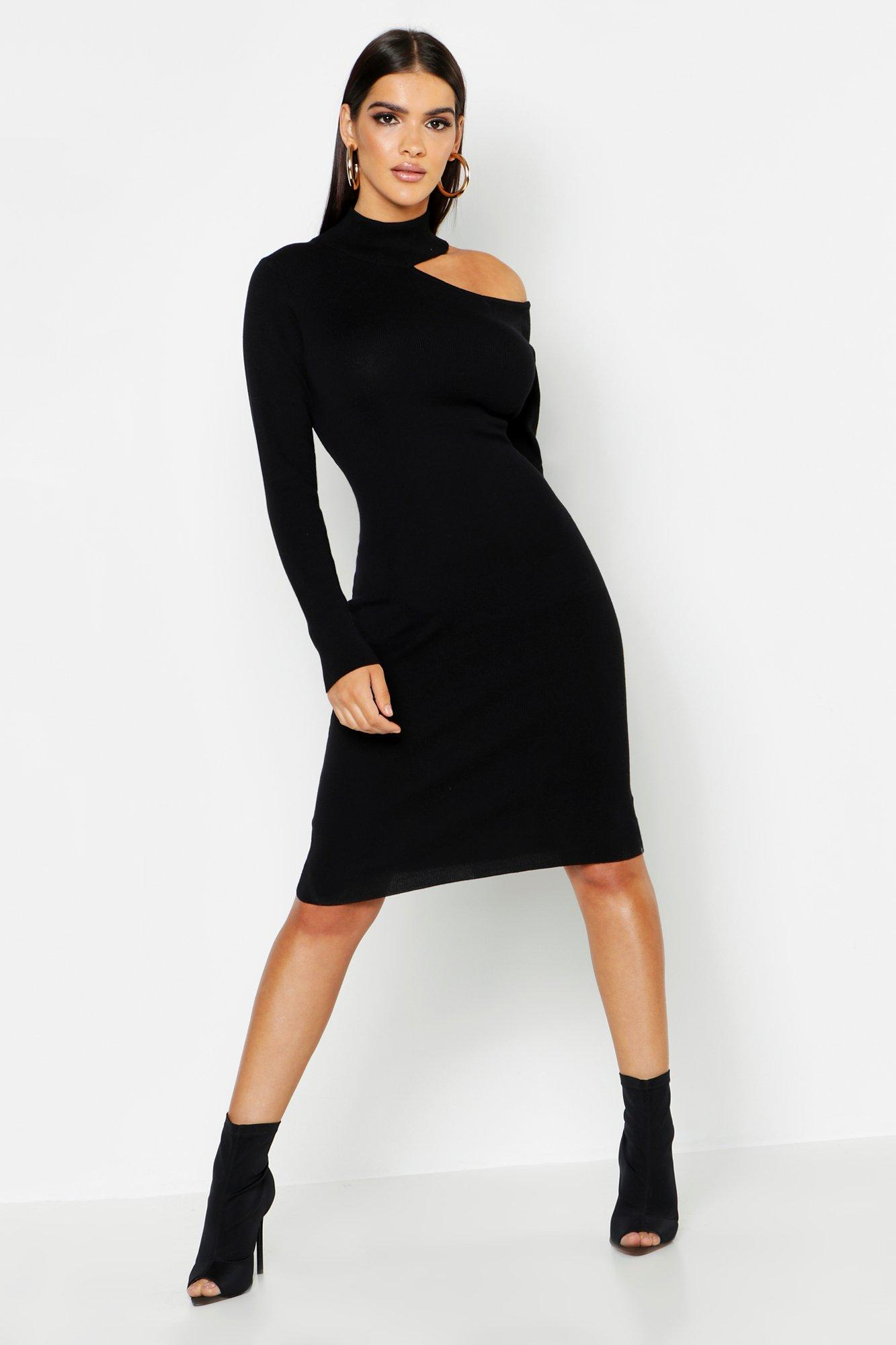 Rib Knit Cut Out Detail Jumper Dress