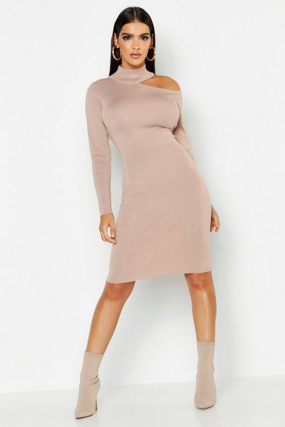 Womens Stone Rib Knit Cut Out Detail Jumper Dress