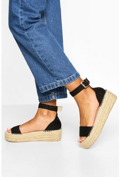 2 Part Espadrille Flatforms, Black