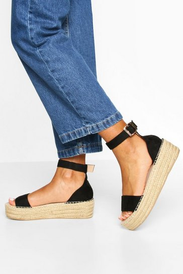 Black 2 Part Espadrille Flatforms
